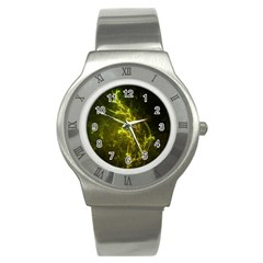 Beautiful Emerald Fairy Ferns In A Fractal Forest Stainless Steel Watch by beautifulfractals