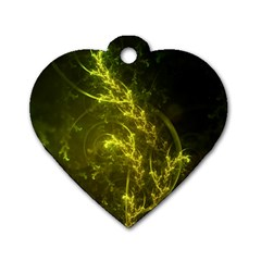 Beautiful Emerald Fairy Ferns In A Fractal Forest Dog Tag Heart (two Sides) by beautifulfractals