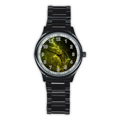 Beautiful Emerald Fairy Ferns In A Fractal Forest Stainless Steel Round Watch by beautifulfractals