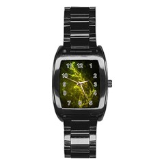 Beautiful Emerald Fairy Ferns In A Fractal Forest Stainless Steel Barrel Watch by beautifulfractals