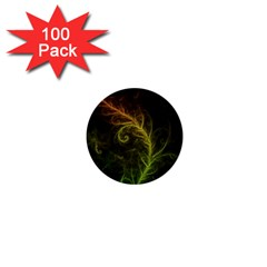 Fractal Hybrid Of Guzmania Tuti Fruitti And Ferns 1  Mini Buttons (100 Pack)  by beautifulfractals