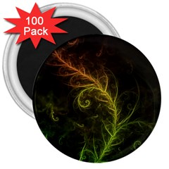 Fractal Hybrid Of Guzmania Tuti Fruitti And Ferns 3  Magnets (100 Pack) by beautifulfractals