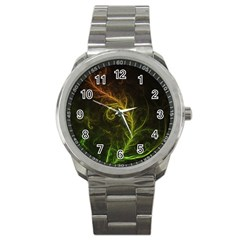 Fractal Hybrid Of Guzmania Tuti Fruitti And Ferns Sport Metal Watch by beautifulfractals