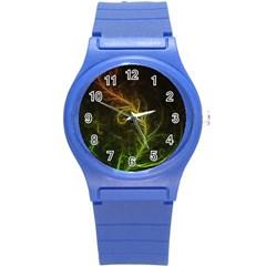Fractal Hybrid Of Guzmania Tuti Fruitti And Ferns Round Plastic Sport Watch (s) by beautifulfractals