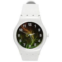 Fractal Hybrid Of Guzmania Tuti Fruitti And Ferns Round Plastic Sport Watch (m) by beautifulfractals