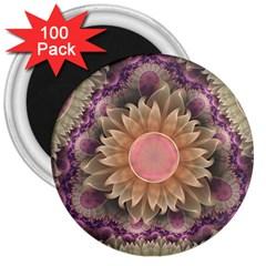 Pastel Pearl Lotus Garden Of Fractal Dahlia Flowers 3  Magnets (100 Pack) by beautifulfractals