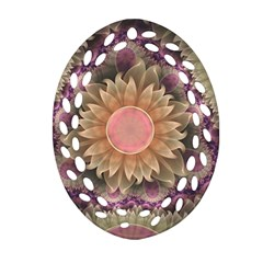 Pastel Pearl Lotus Garden Of Fractal Dahlia Flowers Oval Filigree Ornament (two Sides) by beautifulfractals