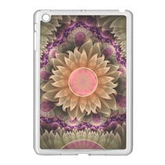 Pastel Pearl Lotus Garden of Fractal Dahlia Flowers Apple iPad Mini Case (White) by beautifulfractals