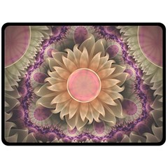 Pastel Pearl Lotus Garden of Fractal Dahlia Flowers Double Sided Fleece Blanket (Large)