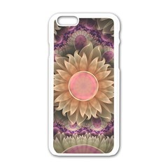 Pastel Pearl Lotus Garden Of Fractal Dahlia Flowers Apple Iphone 6/6s White Enamel Case by beautifulfractals