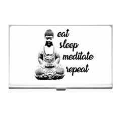 Eat, Sleep, Meditate, Repeat  Business Card Holders by Valentinaart