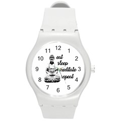 Eat, Sleep, Meditate, Repeat  Round Plastic Sport Watch (m) by Valentinaart