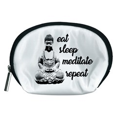 Eat, Sleep, Meditate, Repeat  Accessory Pouches (medium)  by Valentinaart