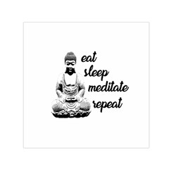 Eat, Sleep, Meditate, Repeat  Small Satin Scarf (square) by Valentinaart