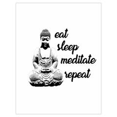 Eat, Sleep, Meditate, Repeat  Drawstring Bag (large) by Valentinaart