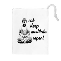 Eat, Sleep, Meditate, Repeat  Drawstring Pouches (extra Large) by Valentinaart