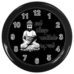 Eat, Sleep, Meditate, Repeat  Wall Clocks (black) by Valentinaart