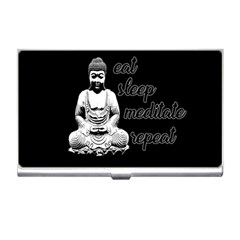 Eat, Sleep, Meditate, Repeat  Business Card Holders by Valentinaart