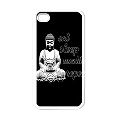 Eat, Sleep, Meditate, Repeat  Apple Iphone 4 Case (white) by Valentinaart
