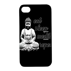 Eat, Sleep, Meditate, Repeat  Apple Iphone 4/4s Hardshell Case With Stand by Valentinaart