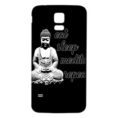 Eat, Sleep, Meditate, Repeat  Samsung Galaxy S5 Back Case (white) by Valentinaart