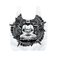 Ornate Buddha Full Print Recycle Bags (m)  by Valentinaart