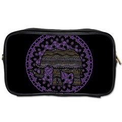 Ornate Mandala Elephant  Toiletries Bags by Valentinaart
