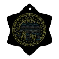 Ornate Mandala Elephant  Snowflake Ornament (two Sides) by Valentinaart