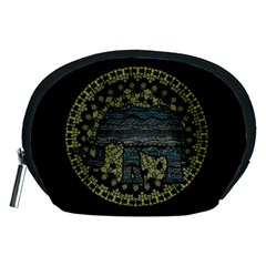 Ornate Mandala Elephant  Accessory Pouches (medium)  by Valentinaart