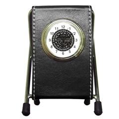 Ornate Mandala Elephant  Pen Holder Desk Clocks by Valentinaart