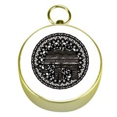 Ornate Mandala Elephant  Gold Compasses by Valentinaart