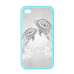 Beautiful Dolphin, Mandala Design Apple Iphone 4 Case (color) by FantasyWorld7