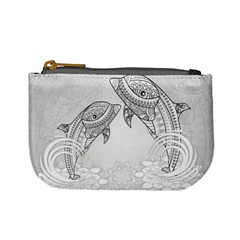 Beautiful Dolphin, Mandala Design Mini Coin Purses