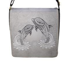 Beautiful Dolphin, Mandala Design Flap Messenger Bag (l)  by FantasyWorld7