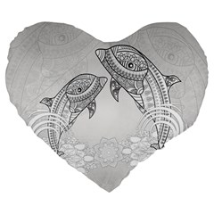 Beautiful Dolphin, Mandala Design Large 19  Premium Heart Shape Cushions by FantasyWorld7