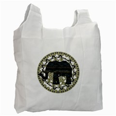 Ornate Mandala Elephant  Recycle Bag (two Side)  by Valentinaart