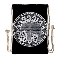 Ornate Mandala Elephant  Drawstring Bag (large) by Valentinaart