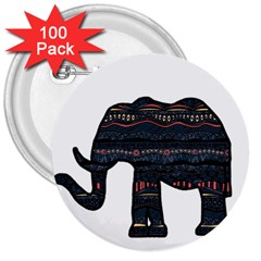 Ornate Mandala Elephant  3  Buttons (100 Pack)  by Valentinaart