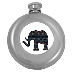 Ornate Mandala Elephant  Round Hip Flask (5 Oz) by Valentinaart
