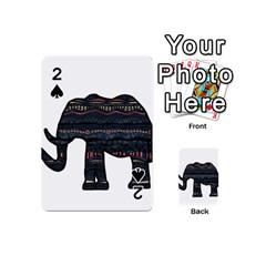 Ornate Mandala Elephant  Playing Cards 54 (mini)  by Valentinaart