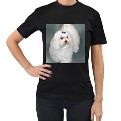 Maltese Full 2 Women s T-Shirt (Black) (Two Sided)