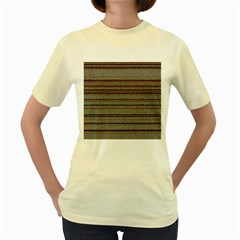 Stripy Knitted Wool Fabric Texture Women s Yellow T Shirt by BangZart