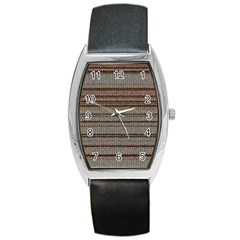 Stripy Knitted Wool Fabric Texture Barrel Style Metal Watch by BangZart