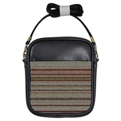 Stripy Knitted Wool Fabric Texture Girls Sling Bags by BangZart