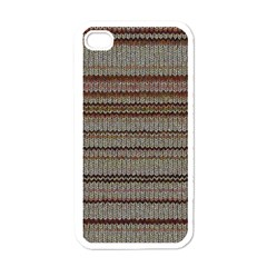 Stripy Knitted Wool Fabric Texture Apple Iphone 4 Case (white) by BangZart