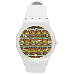 Bohemian Fabric Pattern Round Plastic Sport Watch (m) by BangZart