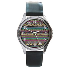 Aztec Pattern Cool Colors Round Metal Watch by BangZart