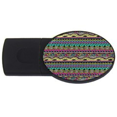 Aztec Pattern Cool Colors Usb Flash Drive Oval (4 Gb) by BangZart