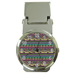 Aztec Pattern Cool Colors Money Clip Watches by BangZart