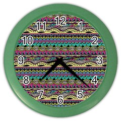 Aztec Pattern Cool Colors Color Wall Clocks by BangZart